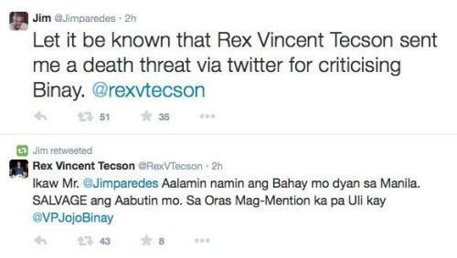 Jim Paredes Twitter Death Threat Rex Vincent Tecson 2