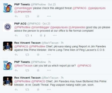 Jim Paredes Twitter Death Threat Rex Vincent Tecson Conversation