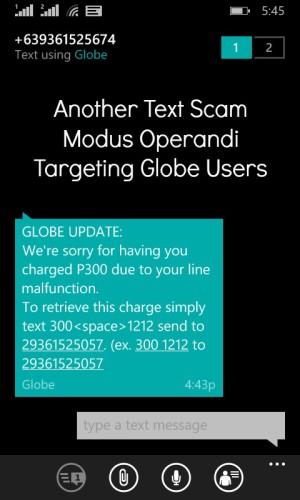 Globe New Text Scam Modus