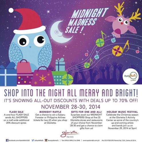 Glorietta Nov 28 to 30 2014 Midnight Madness Sale