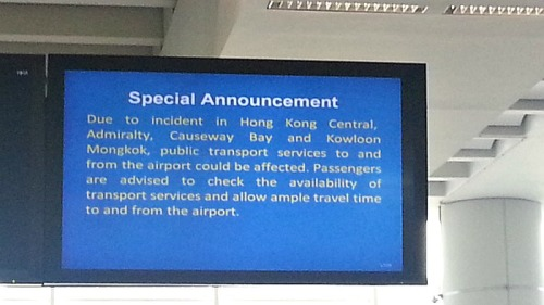 HKIA Special Announcement Avoid Occupy Central