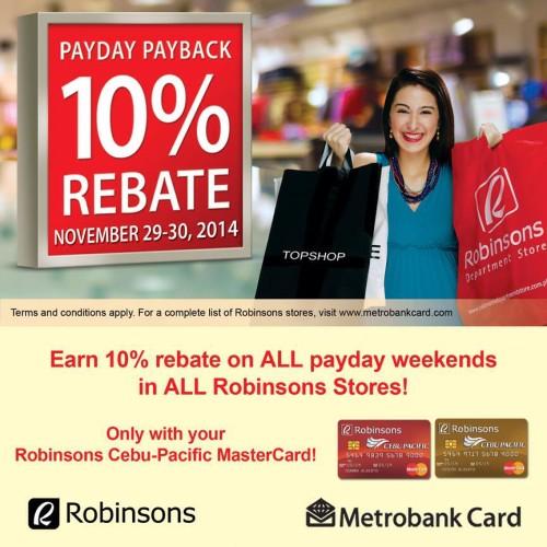 Robinsons 10 Percent Rebate Shop Payday Weekend Using Robinsons Cebu Pacific Credit Card