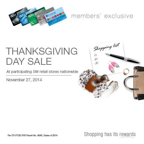 SM Thanksgiving Sale Nov 27 2014