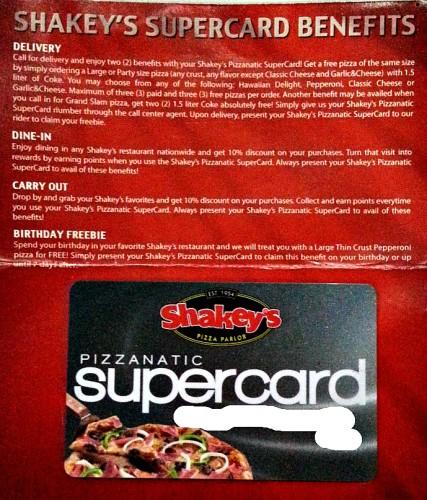 Shakeys Pizzanatic Supercard