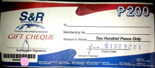 SnR Gift Certificate P200 Shaw Renew Membership 2014 2015