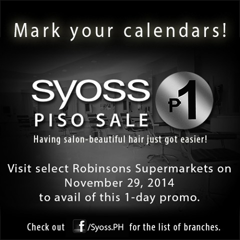 Syoss P1 sale Robinsons Supermarket Nov 29 2014