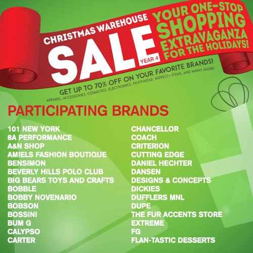 Christmas Warehouse Sale 2014 SMX Dec 19 to 21 Participating Brands 1