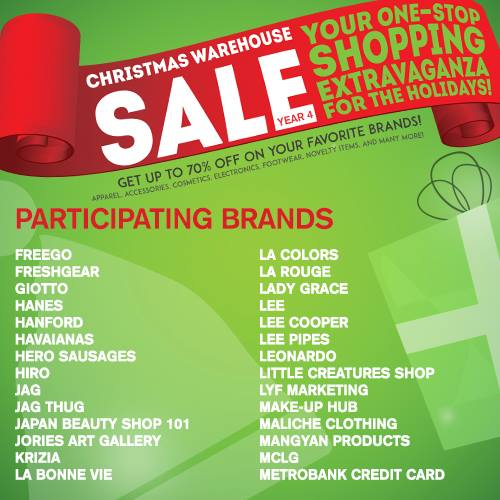 Christmas Warehouse Sale 2014 SMX Dec 19 to 21 Participating Brands 2