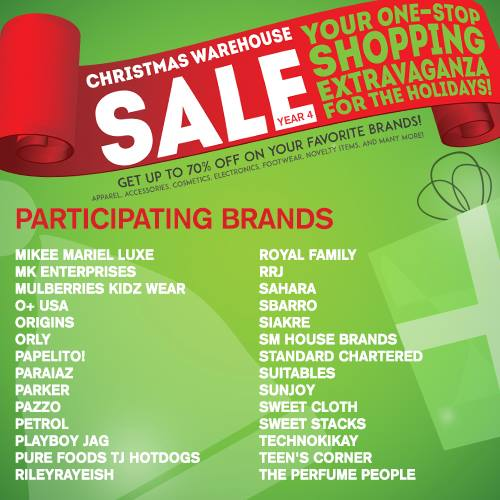 Christmas Warehouse Sale 2014 SMX Dec 19 to 21 Participating Brands 3