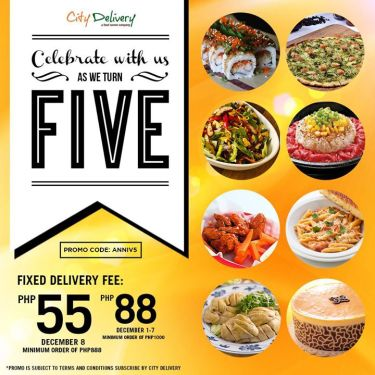 City Delivery Fixed Delivery Fee 55 88 5th Anniversary Promo