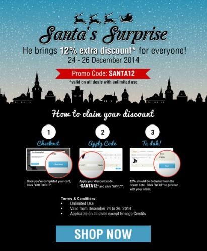 Ensogo 12 OFF Santas Surprise Dec 24 26 2014