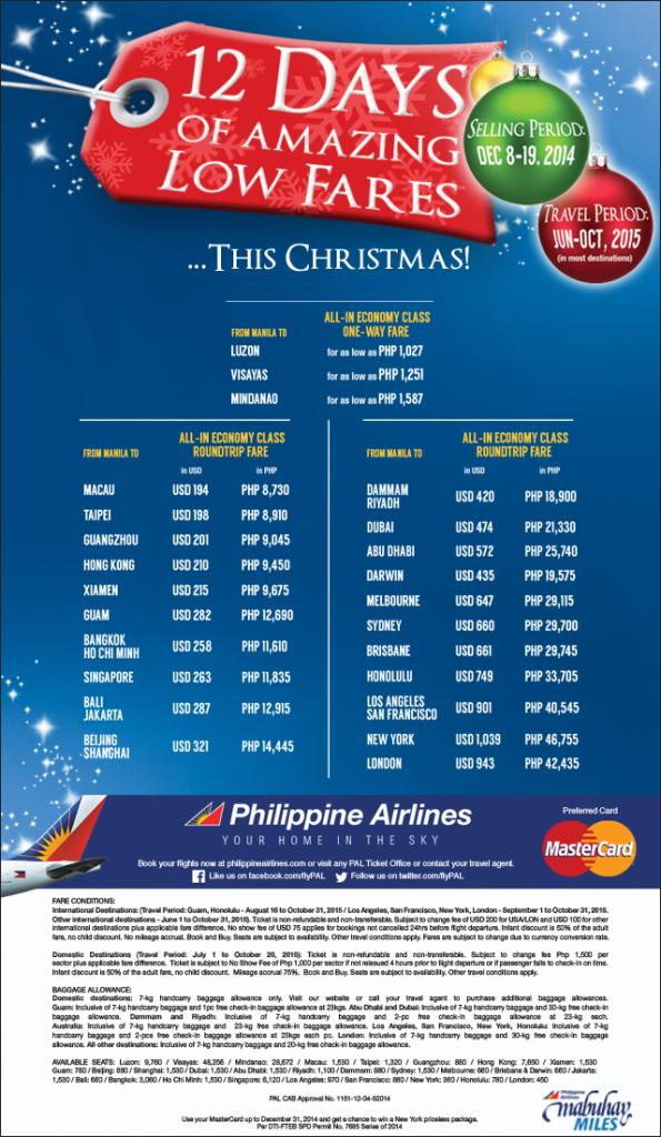 PAL 12 Days of Amazing Low Fares Dec 8 to 19 Christmas 2014