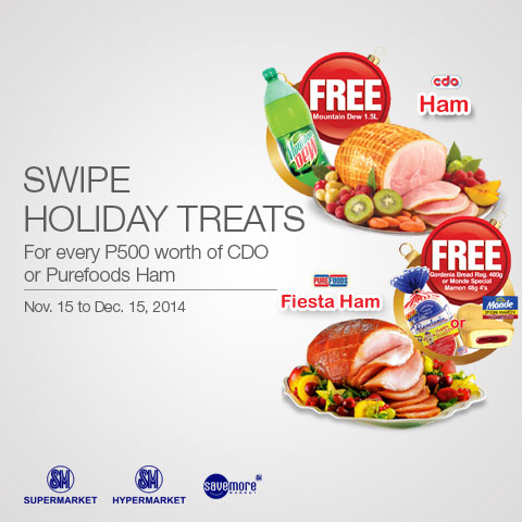 SM Holiday Treats 2014 For Every P500 worth of CDO Purefoods Ham Get Freebies SM Hypermarket, Supermarket, Save More