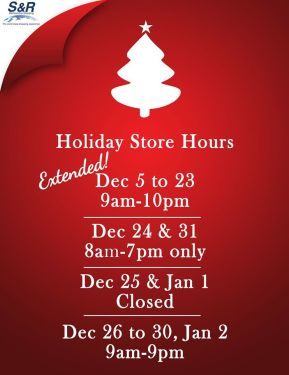SnR Extends Store Hours Holidays Christmas 2014