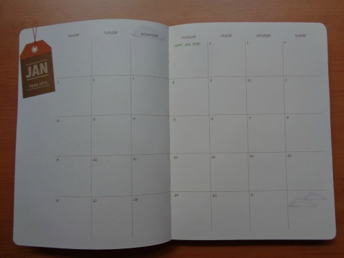 Starbucks 2015 Planner Unboxing Review January Month Calendar Page