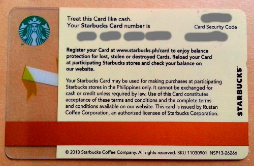 Starbucks Card Back with Fine Print How to Use What are Advantages Get Frebies