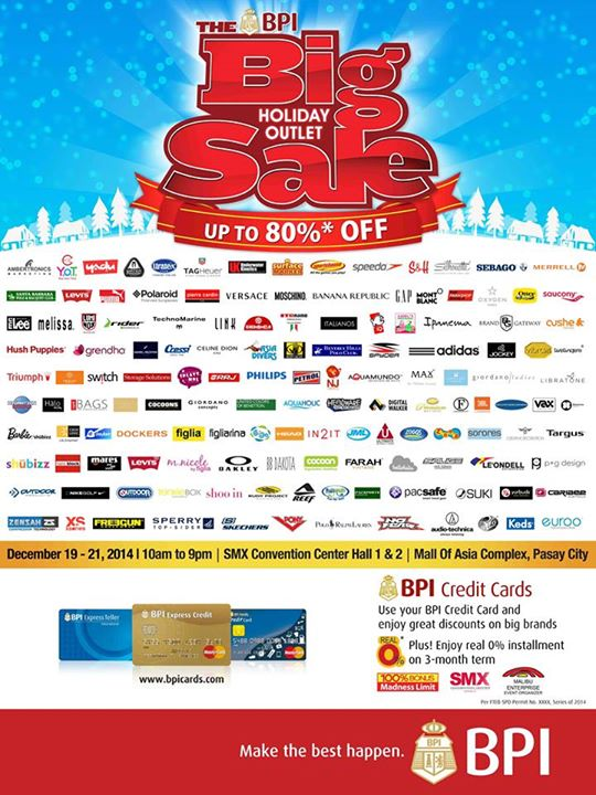 The Big Holiday Outlet Sale by BPI Malibu Enterprises Dec. 19-20, 2014, SMX Convention Center