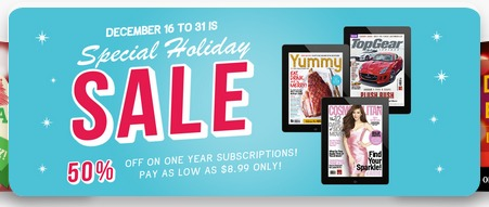 buqo magazines Yummy, Good Housekeeping, Real Living, 50 OFF promo Dec 31, 2014