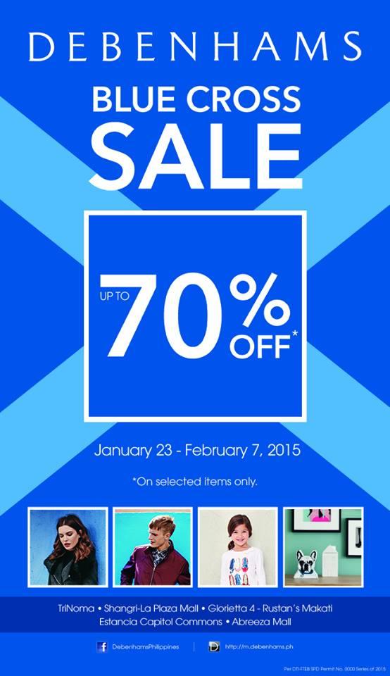 Debenhams Blue Cross Sale 70% OFF Jan 23 - Feb 7, 2015