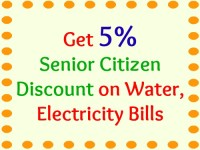 Get 5% Senior Citizen Discount on Water, Electricity Bills