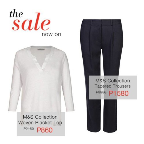Marks and Spencer Final Reductions Sale January February 2015 Woven Top Tapered Trousers