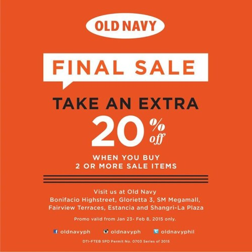 Old Navy Final Sale Jan 2015 Extra 20 OFF