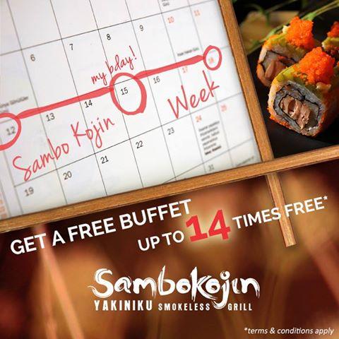 Sambokojin FREE Birthday Buffet Up to 14x