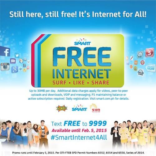 Smart Free Internet Extended Feb 5 2015