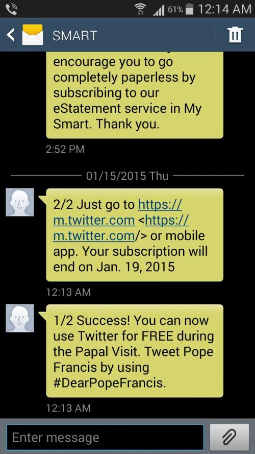 Smart, Sun Cellular, Talk N Text, Free Twitter Dear Pope Visit 2015