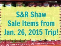 SnR Jan 26 2015 Trip Sale Items