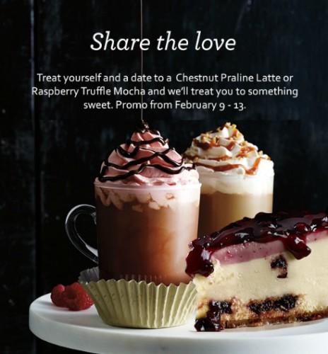 Starbucks Free Cake Chestnut Praline Latte Rasspberry Truffle Mocha Valentine Promo