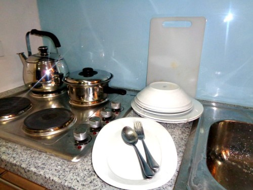 BSA Twin Towers St Francis Condotel Kitchenette Dinnerware and Utensils