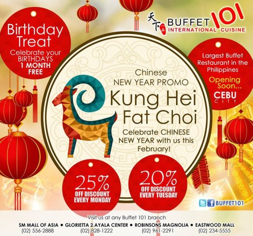Buffet 101 Chinese New Year Promo 25% OFF on Mondays