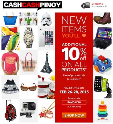 CashCashPinoy 10% OFF Feb 26-28, 2015