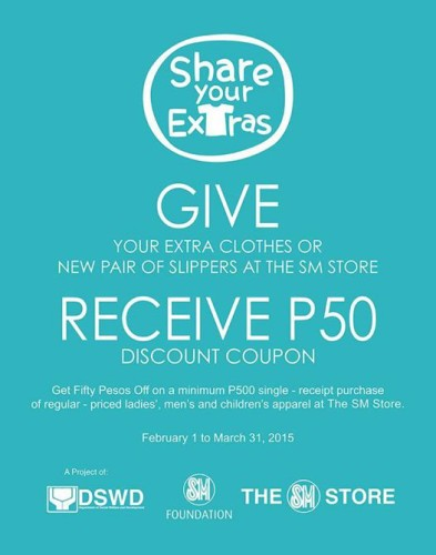 Give Your Extra Clothes Get P50 OFF at SM