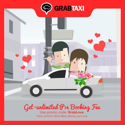 GrabTaxi Valentine Promo Unlimited P14 Booking Fee