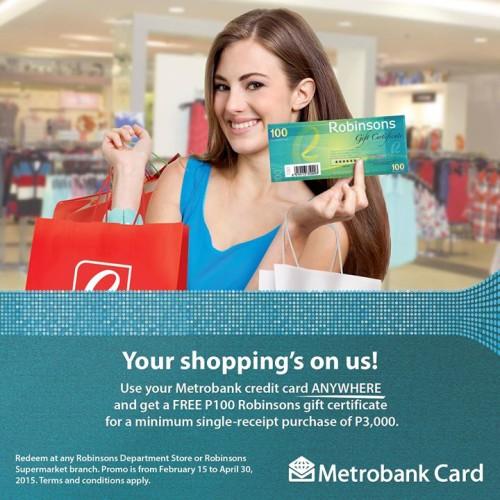 Metrobank Credit Card Promo P3000 Spend P100 Robinsons Gift Certificate
