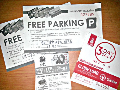 SM 3 Day Sale Report and Freebies Raffle Free Parking Coupon