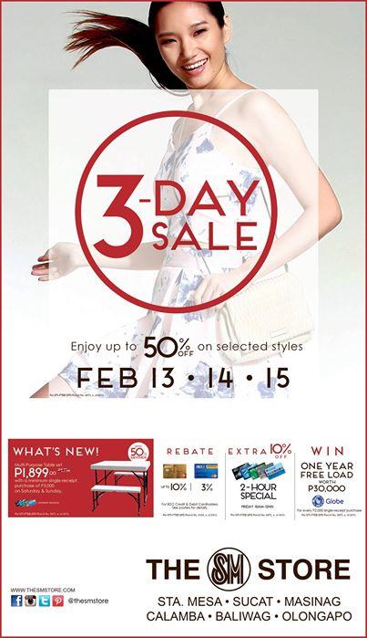 SM 3 Day Sale Feb 13 14 15 2015