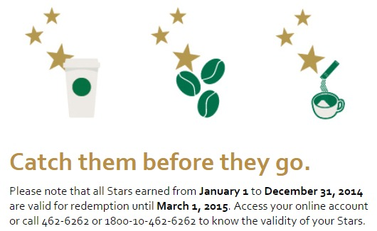 Starbucks Use Up Your 2014 Stars They Will Expire on March 2