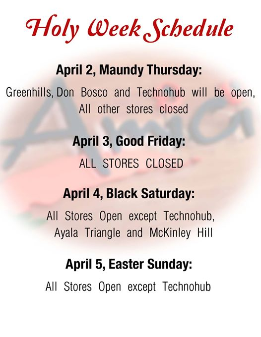 Amici Holy Week Schedule