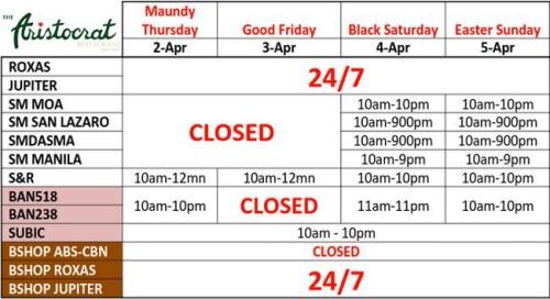 Aristocrat Restaurant Holy Week Schedule
