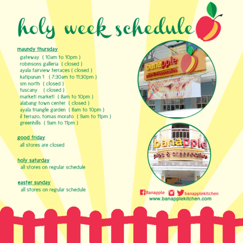 Banapple Holy Week Schedule