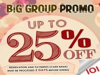 Buffet101 Big Group Promo 25% OFF Total Bill