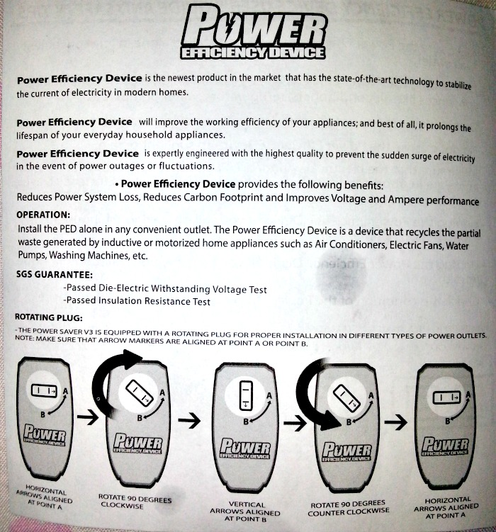 Extreme Power Efficiency Device Manual, Bought at Ace Hardware SM Sale