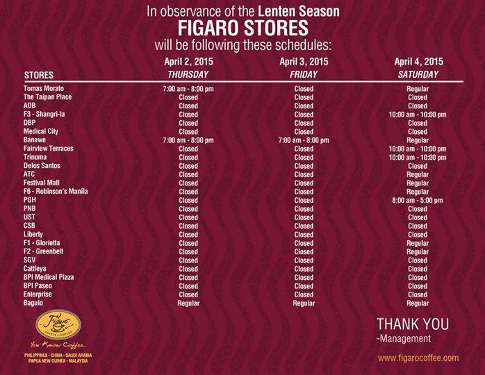 Figaro Holy Week Schedule