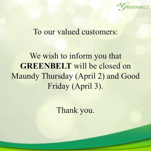 Greenbelt Holy Week Hours