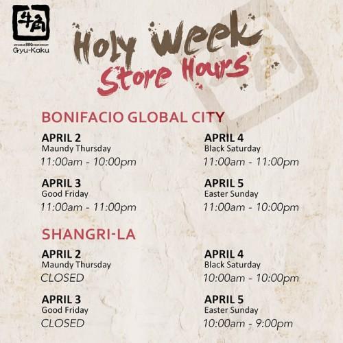 Gyu Kaku Holy Week Schedule