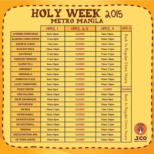 Jco Donuts Holy Week Schedule