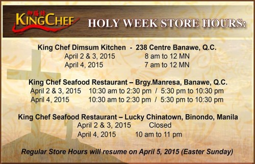 King Chef Holy Week Store Hours